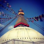 A typical picture from Boudhanath in Kathmandu, Nepal.